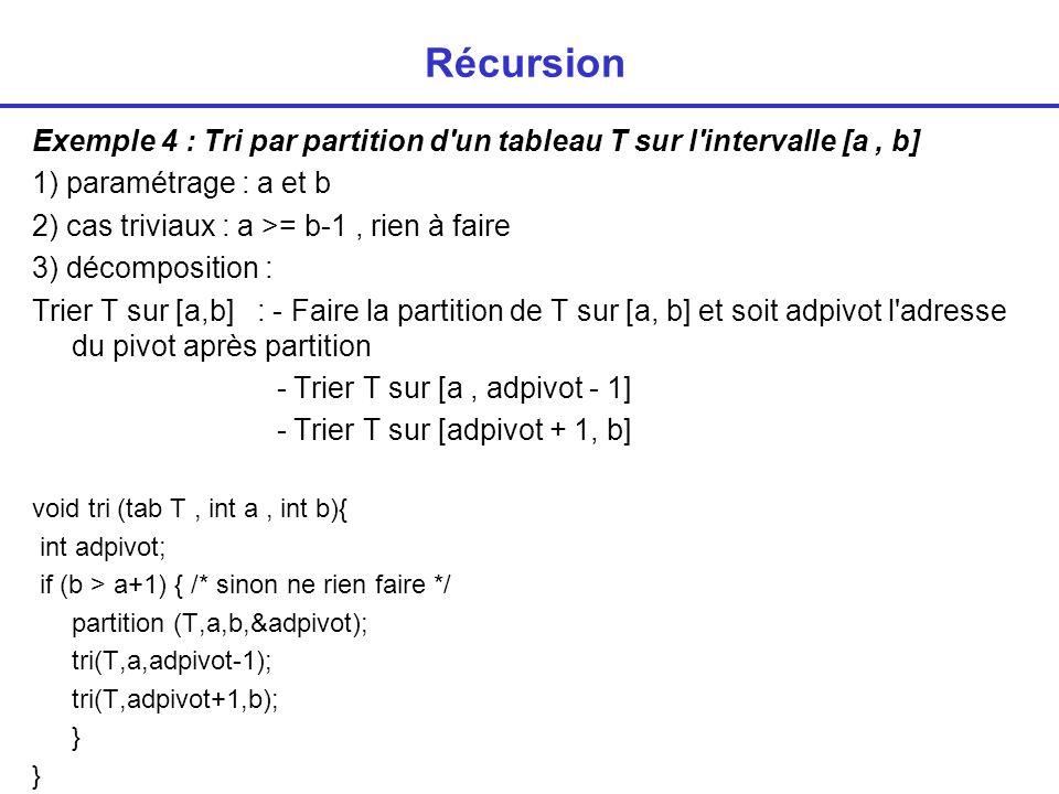 Récursion Exemple 4 : Tri par partition d un tableau T sur l intervalle [a , b] 1) paramétrage : a et b.